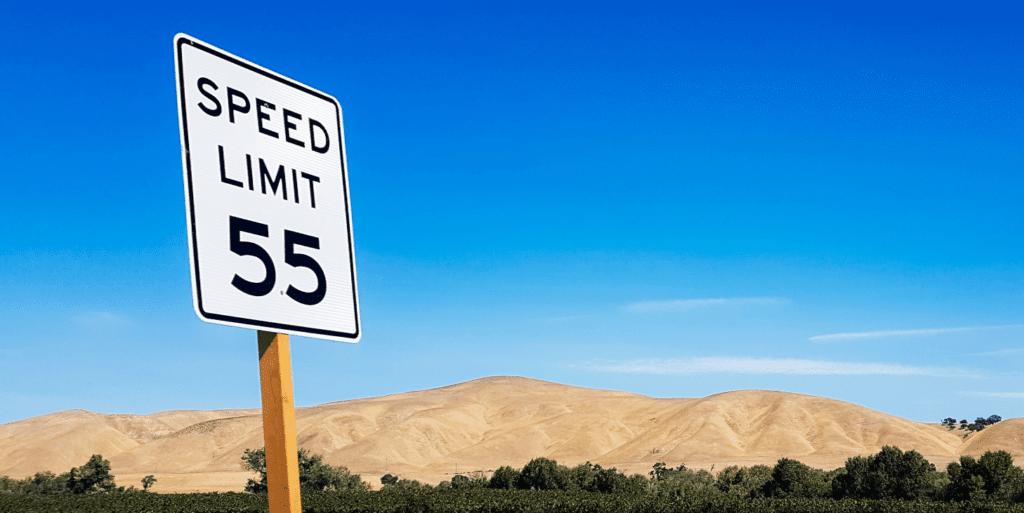 Speed limit 55 in the desert beautiful sky